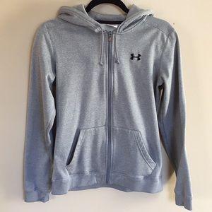 Grey underarmour zip up hoodie in great condition